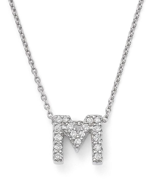 Roberto Coin | Red 18k White Gold Initial Love Letter Pendant Necklace With Diamonds, 16"