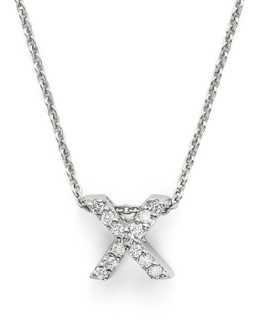 """Roberto Coin   Red 18k White Gold Initial Love Letter Pendant Necklace With Diamonds, 16""""   Lyst"""