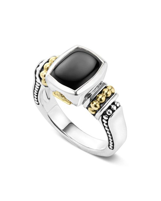 Lagos - Metallic 18k Gold And Sterling Silver Caviar Color Small Onyx Small Ring - Lyst
