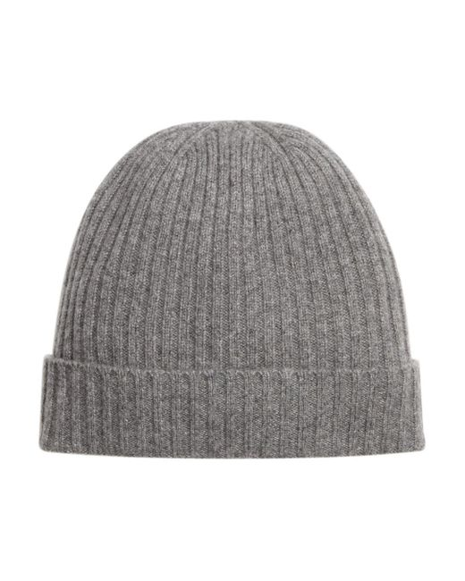 Bloomingdale's Black Ribbed Cashmere Cuff Hat for men