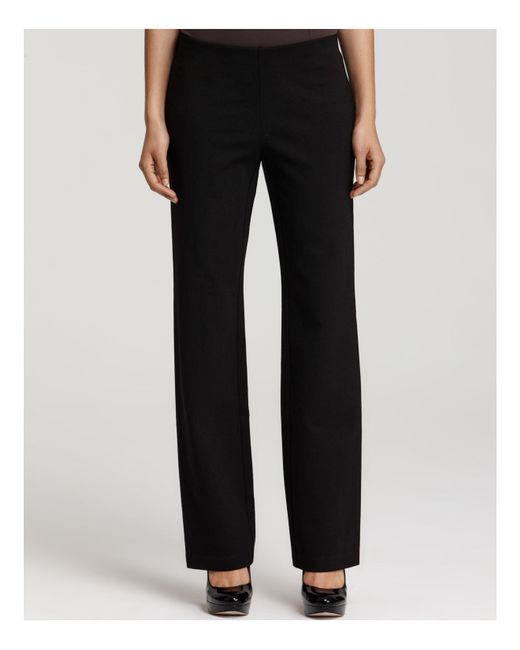 Eileen Fisher | Black Straight Leg Stretch Ponte Pants | Lyst