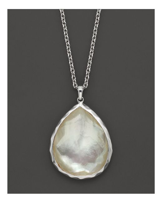 "Ippolita | Metallic Sterling Silver Wonderland Large Teardrop Pendant Necklace In Mother-of-pearl, 16"" | Lyst"