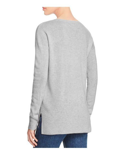 Aqua   Gray Cashmere High/low Crewneck Cashmere Sweater   Lyst