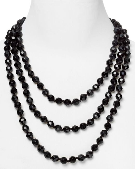 Carolee Black Faceted Bead Rope Necklace