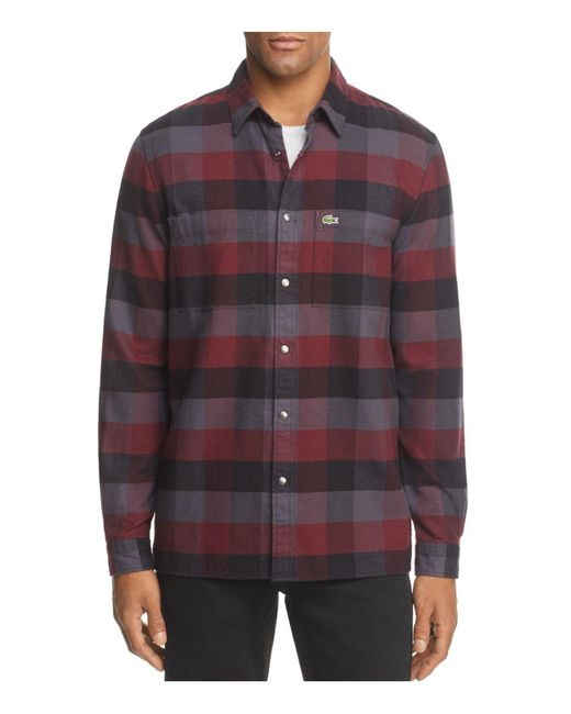 Lacoste | Multicolor Plaid Long Sleeve Button-down Shirt for Men | Lyst