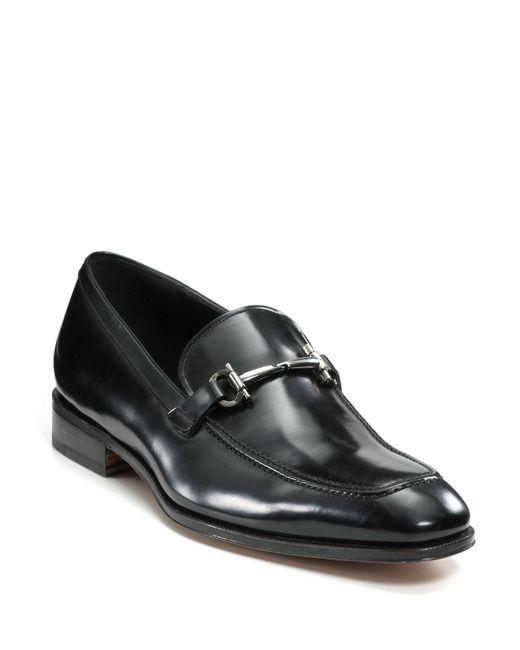 Ferragamo | Black Fenice Leather Loafers for Men | Lyst