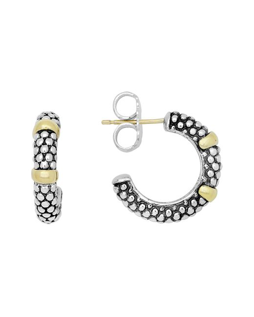 Lagos - Metallic 18k Gold And Sterling Silver Caviartm Beaded Hoop Earrings - Lyst
