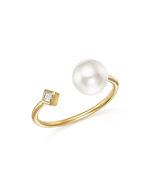 Zoe Chicco - Metallic 14k Yellow Gold Open Ring With Cultured Freshwater Pearl And Diamond - Lyst