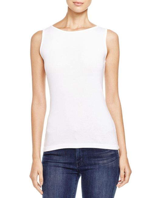 Three Dots - White British Tank - Lyst