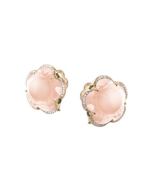 Pasquale Bruni Pink 18k Rose Gold Bon Ton Rose Quartz & Diamond Floral Earrings
