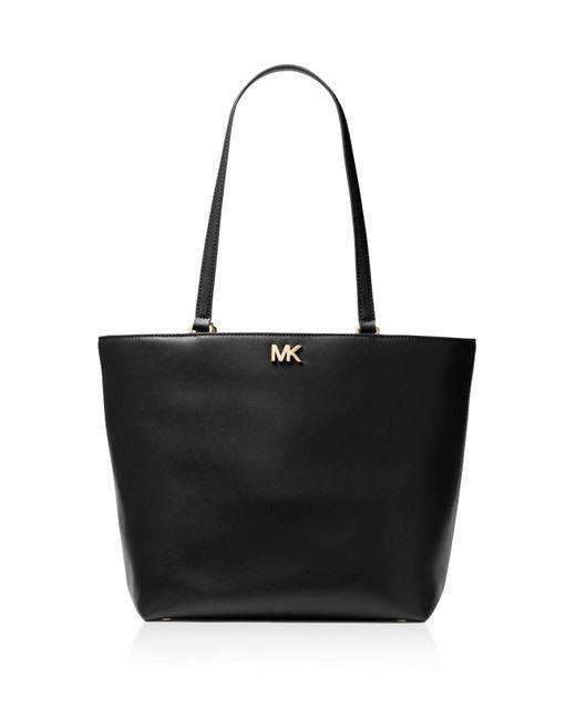 MICHAEL Michael Kors | Black Mott Medium Leather Tote | Lyst