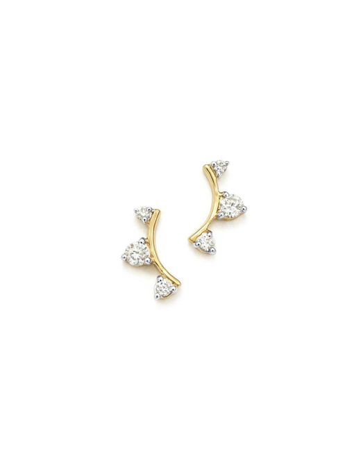 Adina Reyter Metallic 14k Yellow Gold Diamond Amigos Curved Triple Diamond Stud Earrings