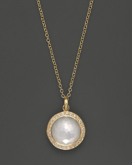 Ippolita - Metallic 18k Yellow Gold Mini Lollipop Pendant Necklace In Mother-of-pearl With Diamonds - Lyst