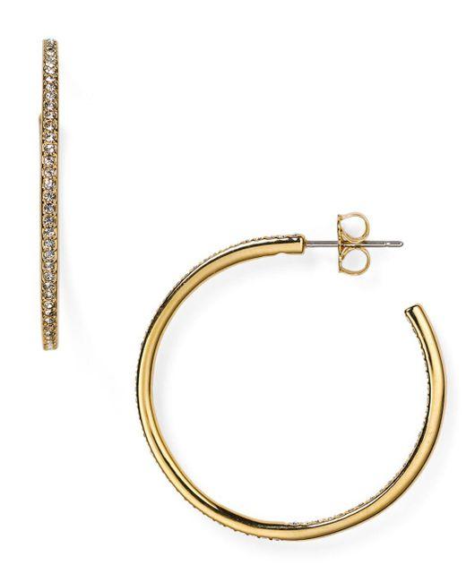 Nadri Metallic Pavé Hoop Earrings