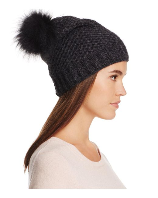 Inverni | Black Slouchy Beanie With Coyote Fur Pom-pom | Lyst
