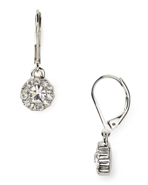 Pink Pony | Metallic Lauren Social Manor Small Round Pave Drop Earrings | Lyst