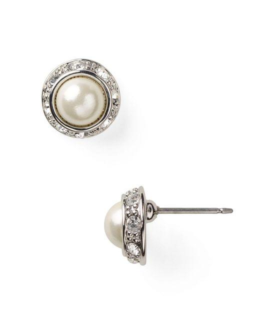 Ralph Lauren   Metallic Lauren Mini Pearl Cabochon & Pavé Bezel Stud Earrings   Lyst