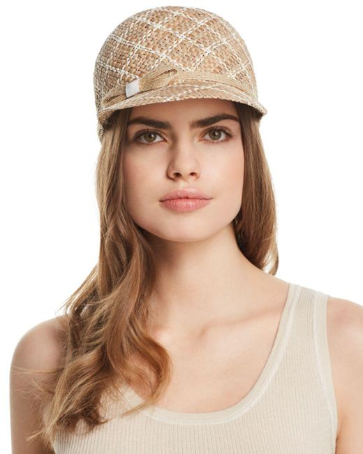 Aqua - Brown Two-tone Patterned Straw Cap - Lyst