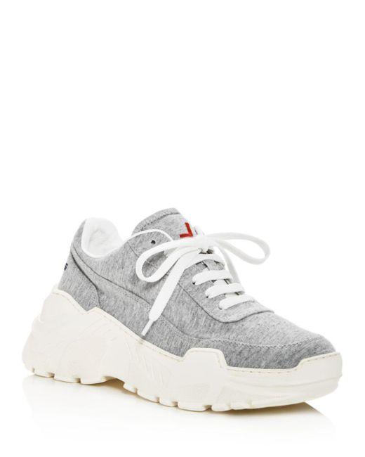 Joshua Sanders - Gray Women's Zenith Leather Lace Up Platform Sneakers - Lyst