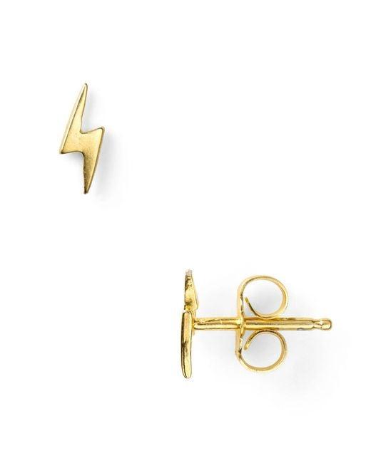 Dogeared | Metallic Little Things Mini Gold Lightning Bolt Stud Earrings | Lyst