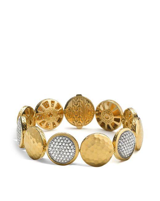 John Hardy   Metallic Palu 18k Gold Diamond Pavé Five Disc Station Bracelet   Lyst