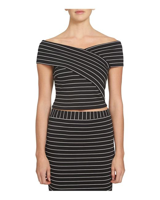 1.STATE | Black Off-the-shoulder Wrap Front Top | Lyst