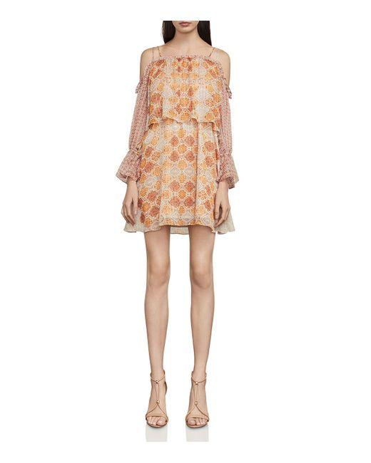 BCBGMAXAZRIA - Natural Dimitri Tile Print Cold-shoulder Dress - Lyst