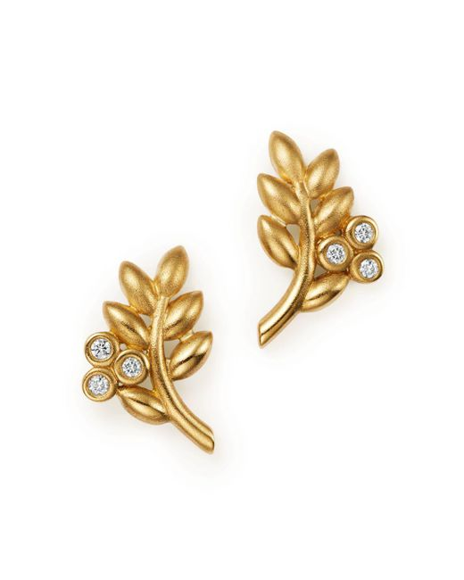 Temple St. Clair - Metallic 18k Yellow Gold Olive Branch Earrings With Diamonds - Lyst