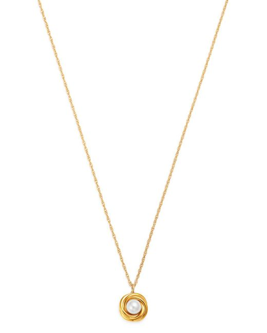 Bloomingdale's Multicolor Cultured Freshwater Pearl Knot Pendant Necklace In 14k Yellow Gold