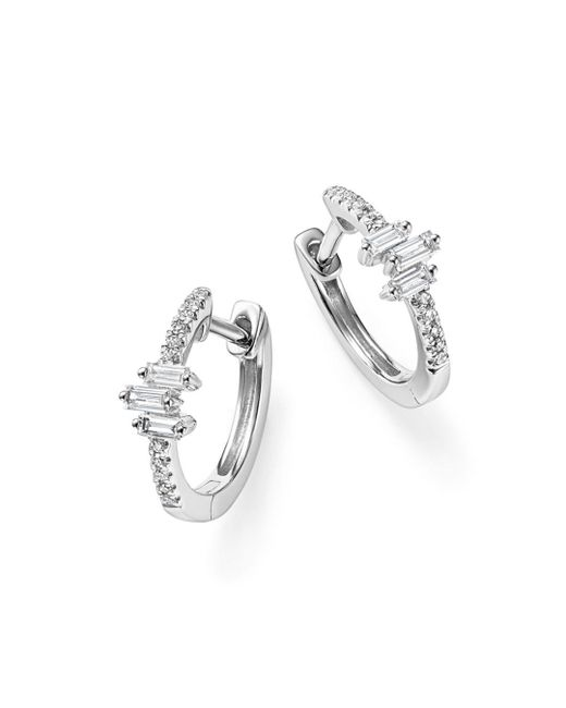 KC Designs - 14k White Gold Diamond Mosaic Hoop Earrings - Lyst
