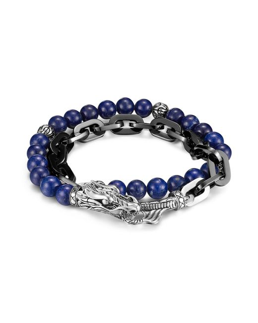 John Hardy   Blue Men's Naga Silver Double Wrap Stainless Steel Link Bracelet With Lapis Lazuli for Men   Lyst