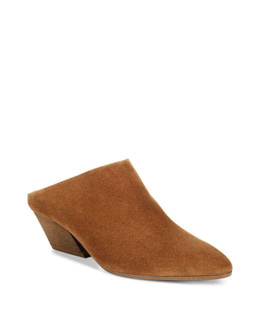 Vince - Brown Women's Vigo Suede Block Heel Mules - Lyst