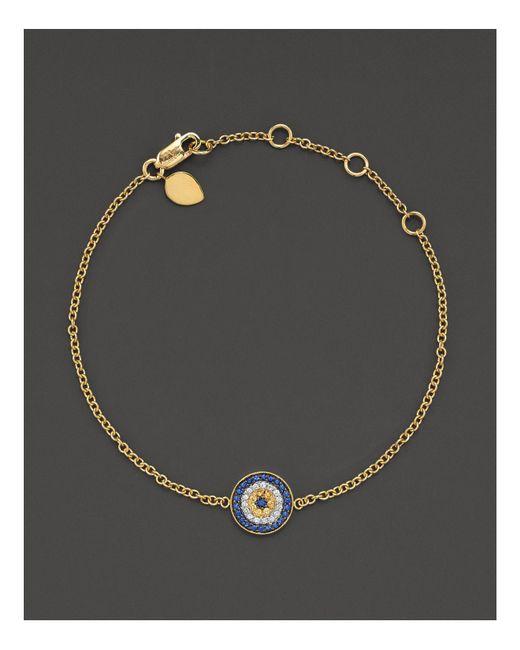 "Meira T | Metallic 14 Kt. Yellow Gold/diamond ""evil Eye"" Bracelet | Lyst"