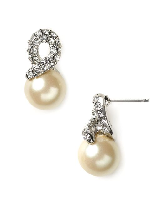 Carolee | White Elegant Bride Pearl And Pave Earrings | Lyst