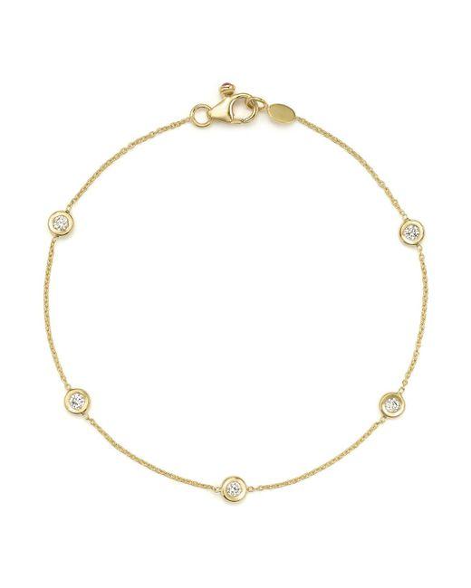 Roberto Coin | Metallic 18k Yellow Gold Five Station Bracelet With Diamonds | Lyst