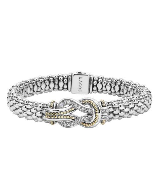 Lagos - Metallic Sterling Silver And 18k Gold Newport Diamond Caviar Bracelet - Lyst