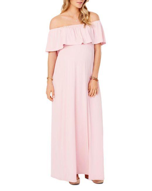 Ingrid & Isabel Pink Maternity Off-the-shoulder Maxi Dress