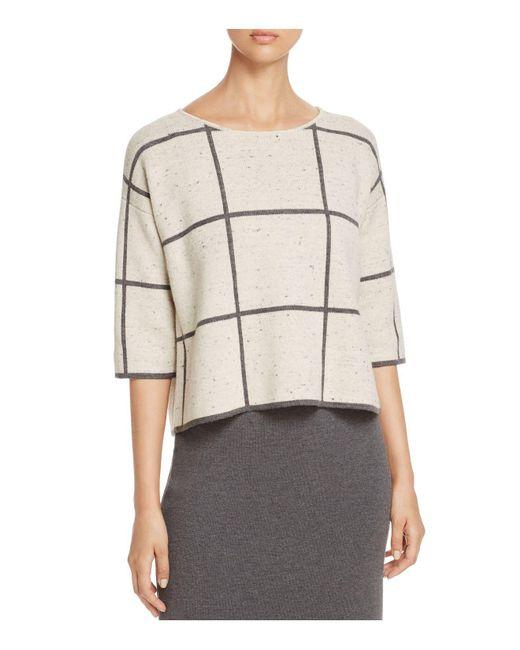 Eileen Fisher | Natural Windowpane Merino Wool Top | Lyst