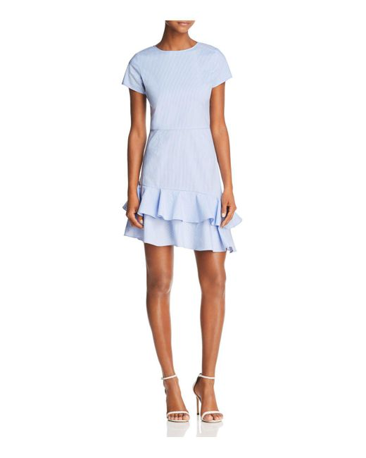 Aqua - Blue Seersucker Flounce Dress - Lyst