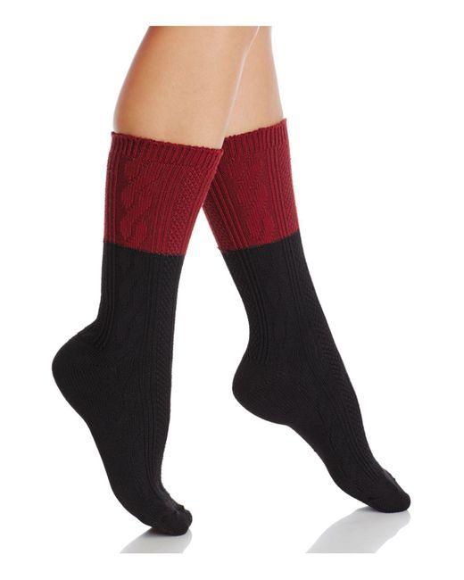 Hue | Black Colorblock Cable Crew Socks | Lyst