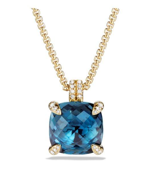 David Yurman | Châtelaine Pendant Necklace With Hampton Blue Topaz And Diamonds In 18k Gold | Lyst