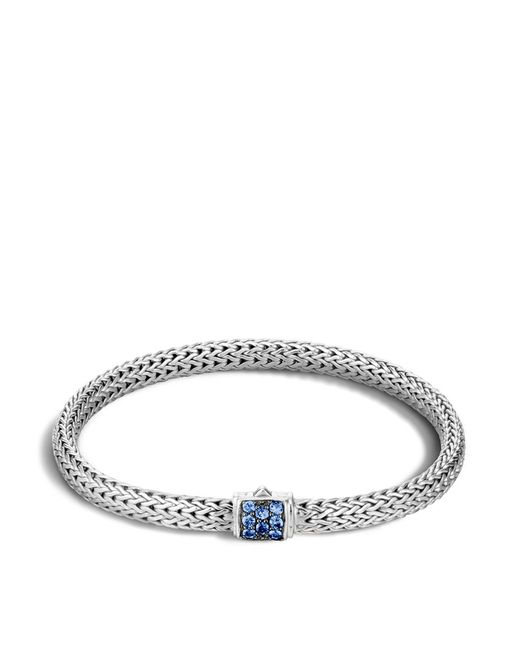 John Hardy | Metallic Classic Chain Sterling Silver Lava Extra Small Bracelet With Blue Sapphires | Lyst
