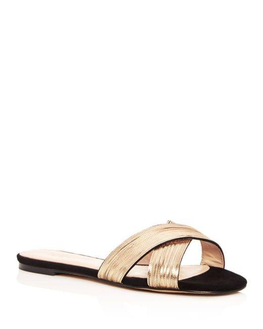 Botkier - Metallic Women's Millie Chain Embellished Suede Crisscross Slide Sandals - Lyst
