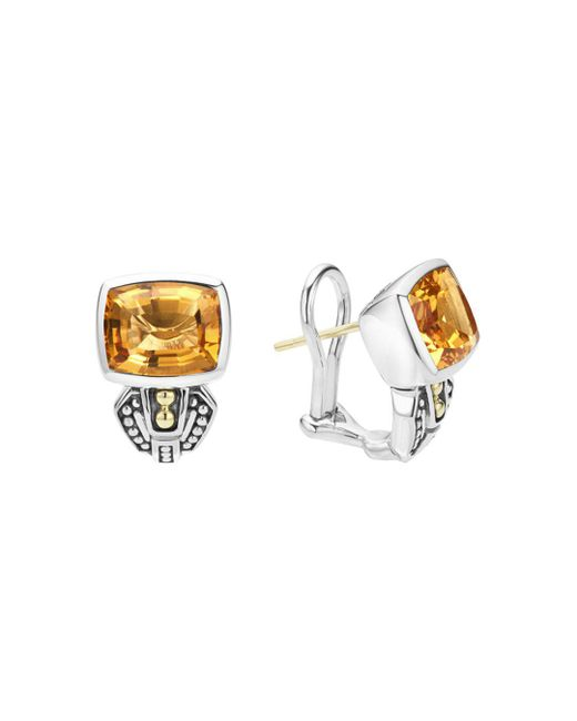 Lagos - Metallic 18k Gold And Sterling Silver Caviar Color Citrine Huggie Drop Earrings - Lyst