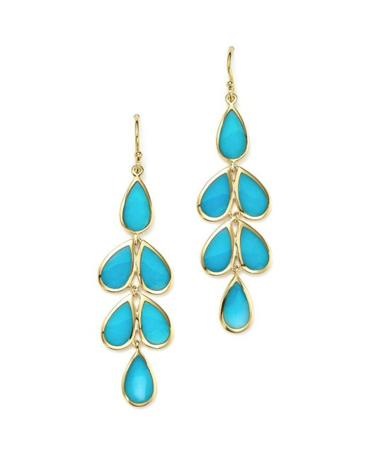 Ippolita - Blue 18k Yellow Gold Rock Candy® Cascade Teardrop Earrings With Turquoise - Lyst