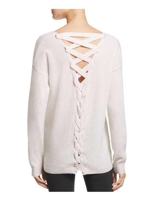 Aqua | Multicolor Cashmere Lace Up Back Sweater | Lyst