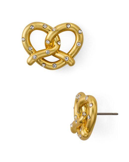 Kate Spade Metallic Pavé Pretzel Stud Earrings Lyst