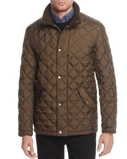 Cole Haan - Green Diamond Quilted Snap Jacket for Men - Lyst