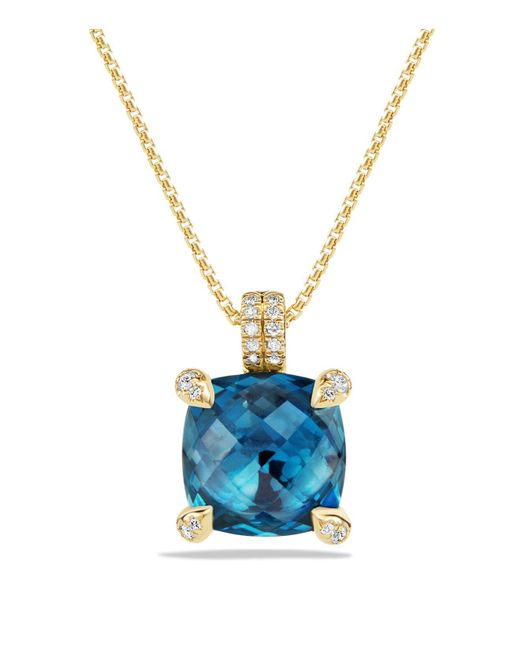 David Yurman | Châtelaine Pendant Necklace With Hampton Blue Topaz And Diamonds In 18k Gold | Lyst
