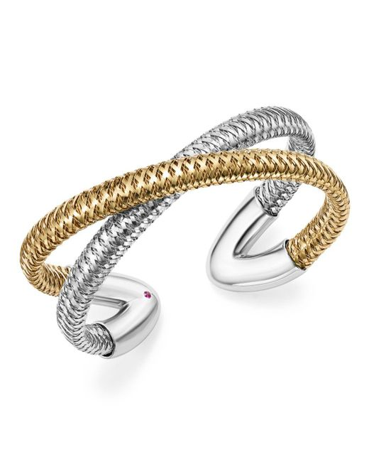Roberto Coin - Metallic 18k White And Yellow Gold Primavera Cross Cuff Bracelet - Lyst